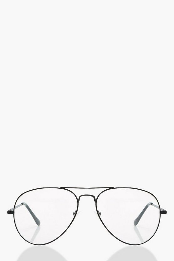 Lily Black Frame Aviator Glasses