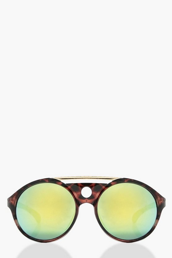 Ava Tortoise & Bar Mirror Lens Round Sunglasses