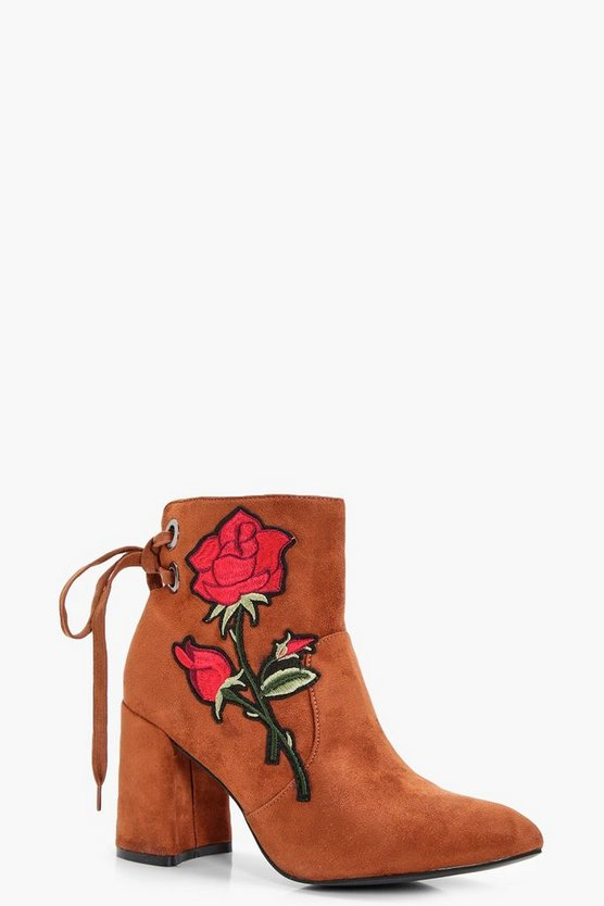 Danielle Floral Applique Ankle Boot