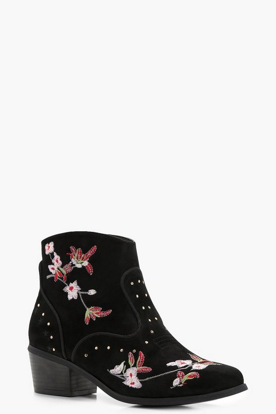 Camy Floral Embroidered Ankle Boots