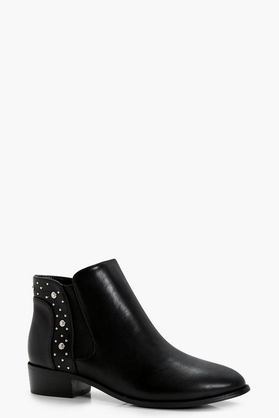 Hollie Stud Trim Chelsea Boots