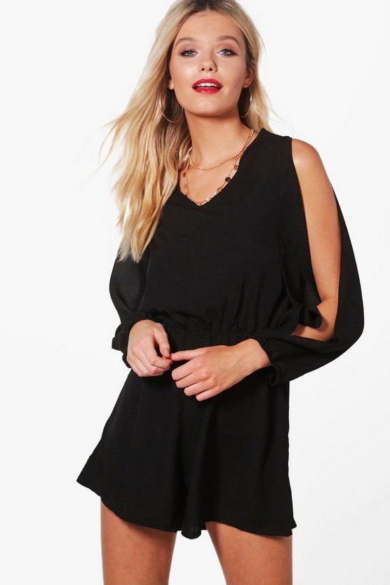Joyce Split Sleeve Crepe Playsuit