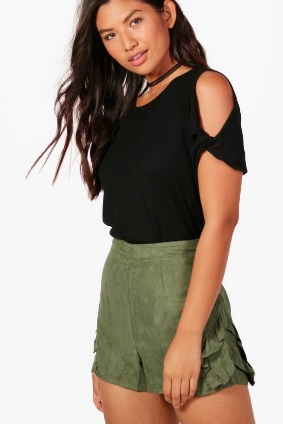 Nancy Ruffle Side Faux Suede Shorts