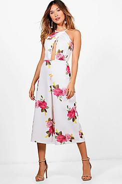 Karlie Jumpsuit mit Hosenrock und Blumen-Print - Boohoo.com