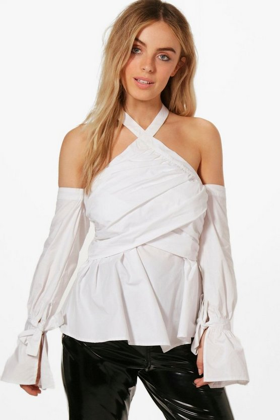 Esme Wrap Detail Cold Shoulder Woven Top