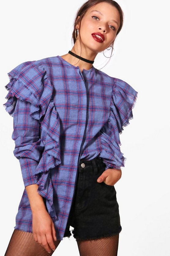 Tania Check Ruffle Washed And Frayed Top