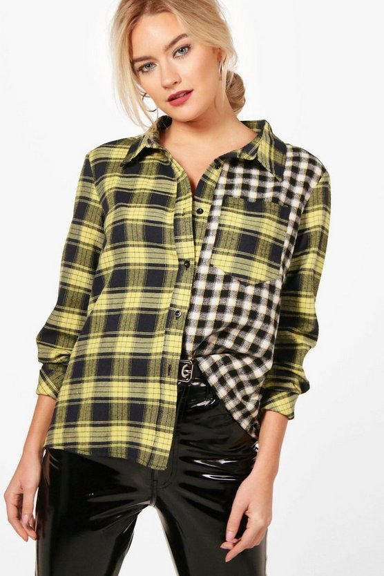 Emery Gingham & Check Asymetric Shirt
