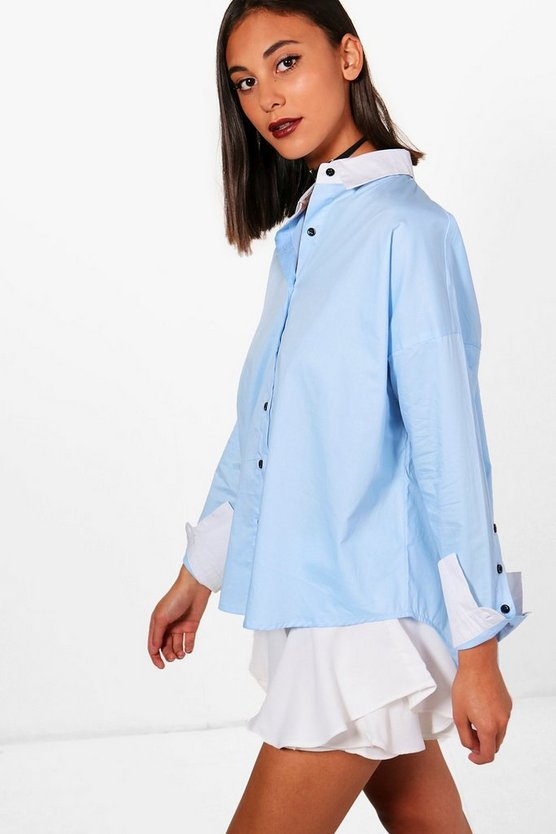 Olivia Contrast Collar & Cuff Button Sleeve Shirt