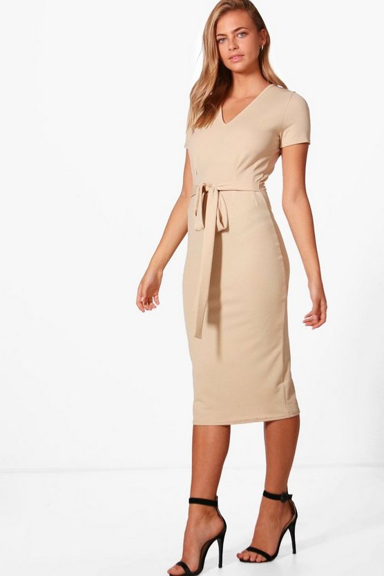 Sarah V-Neck Tie Waist Fitted Dress