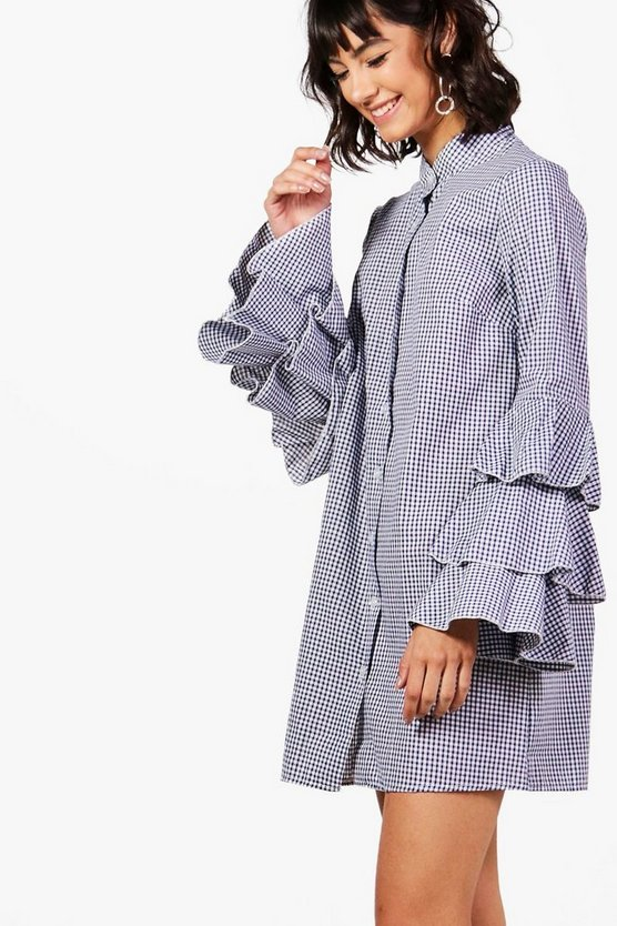 Harriet Gingham Ruffle Sleeve Shirt Dress