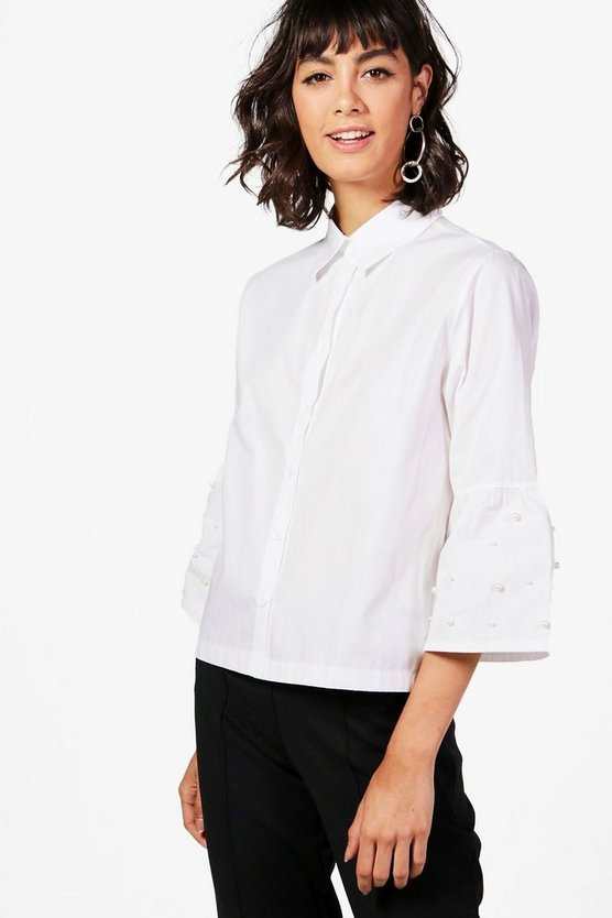 Freya Flute Sleeve Crop Shirt With Pearl