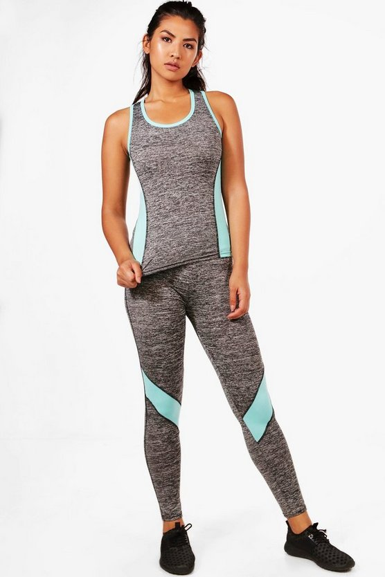 Mae Fit Contrast Panel Vest & Legging Set