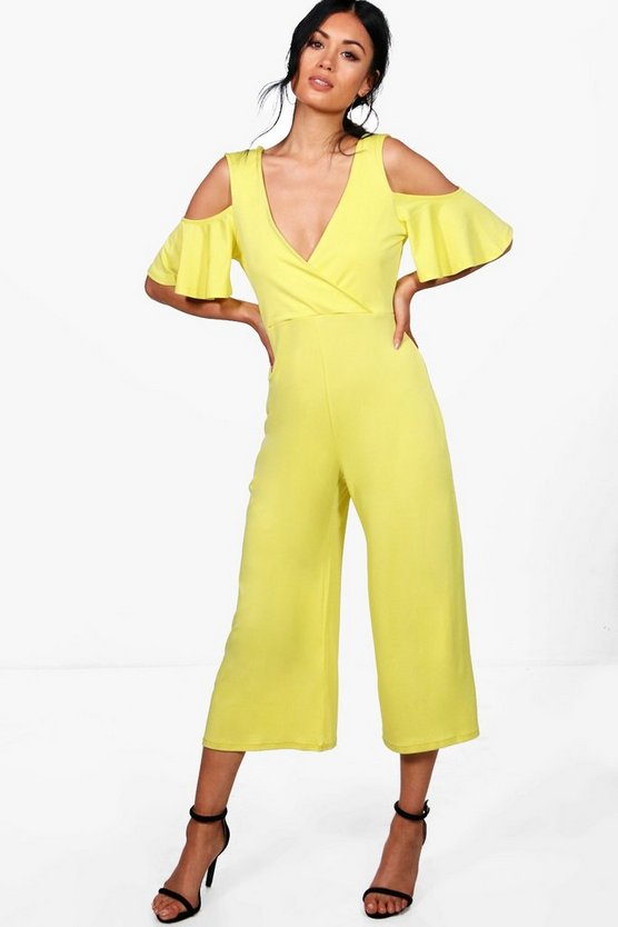 Joselyn Open Shoulder Plunge Culotte Jumpsuit