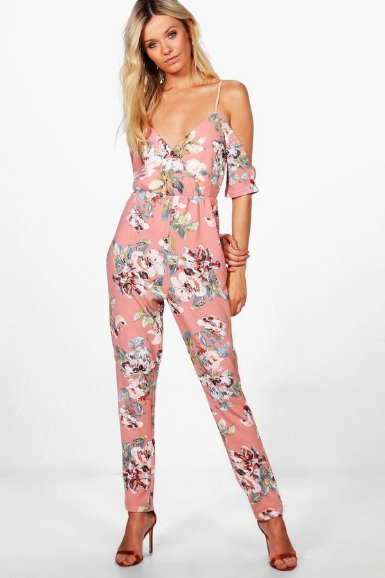 Cold Shoulder Floral Jumpsuit