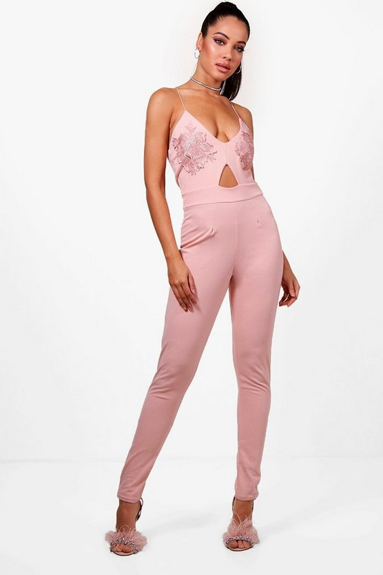 Esme Applique Strappy Skinny Leg Jumpsuit