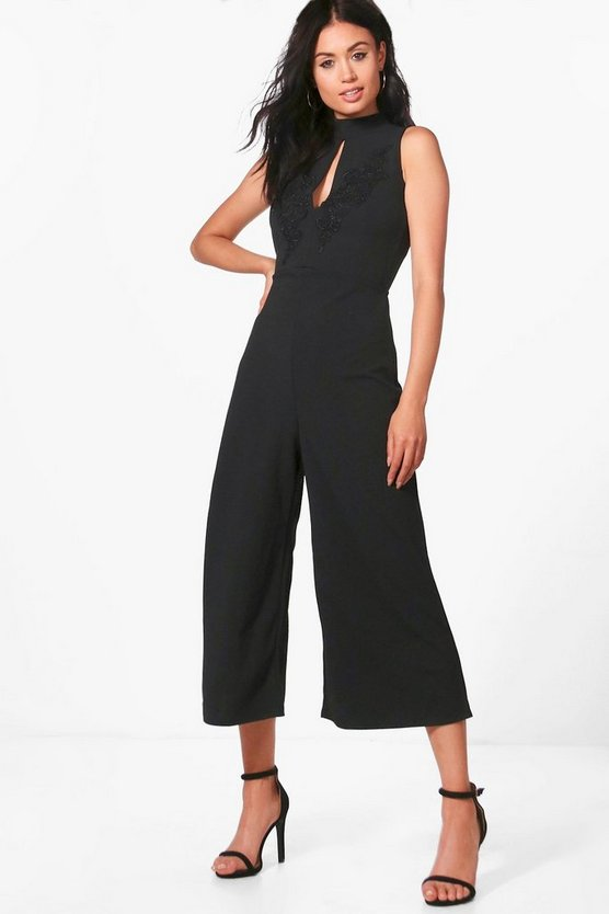 Alyson High Neck Applique Culotte Jumpsuit