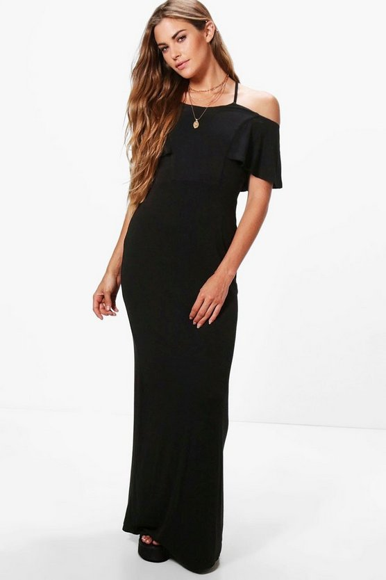 Rebecca Cross Front Off Shoulder Maxi Dress