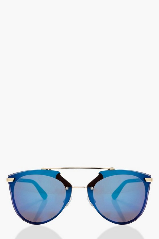 Lena Double Bridged Mirrored Sunglasses