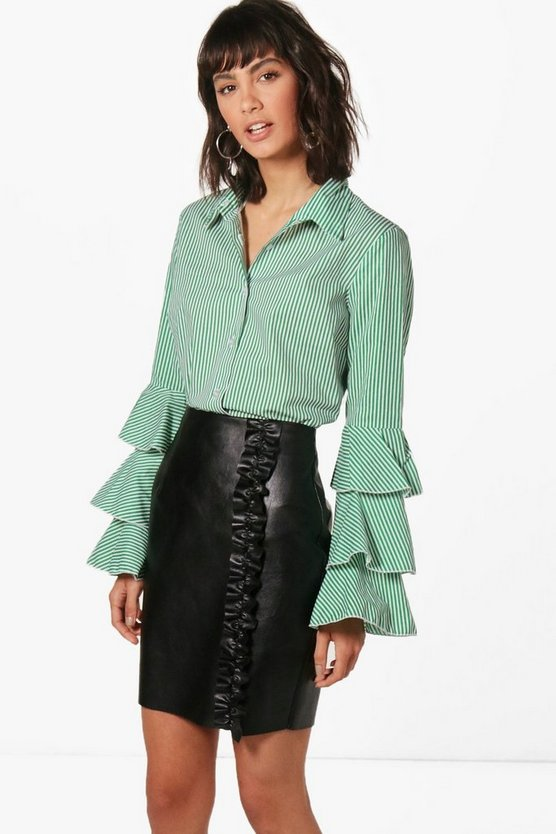 Alicia Stripe Ruffle Sleeve Shirt