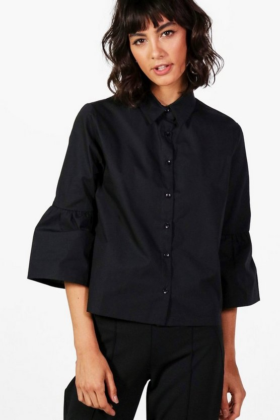 Kate Flute Sleeve Crop Shirt