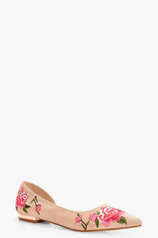 Orlagh Embroidered Pointed Toe Ballet