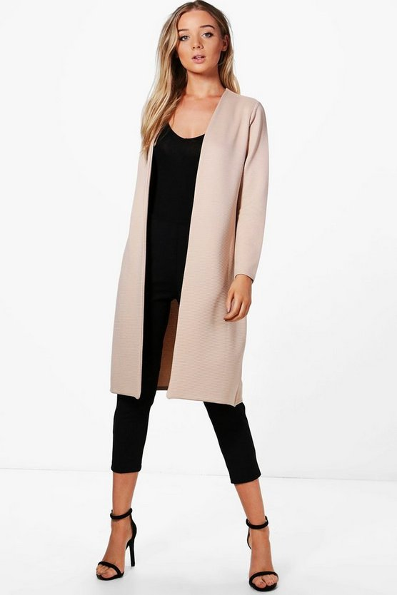 Jade Rib collarless Duster