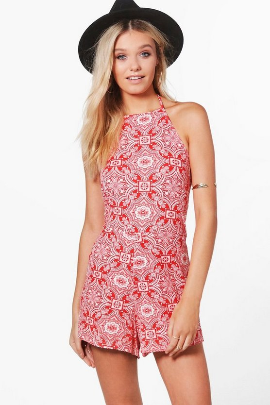 Print Paisley High Neck Playsuit