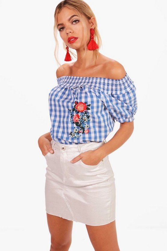 Avery Embroidered Gingham Gypsy Top