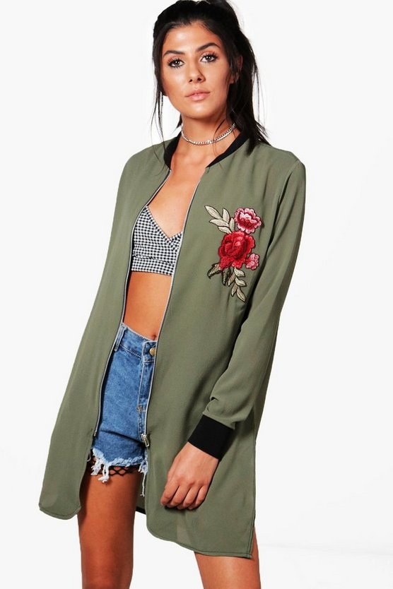 Lisa Longline Embroidered Bomber