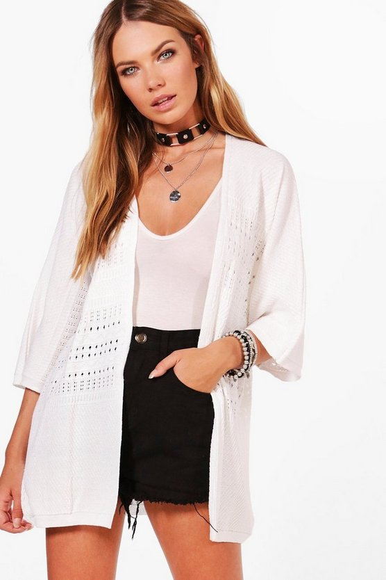 Erin Pointelle Batwing Cape Cardigan