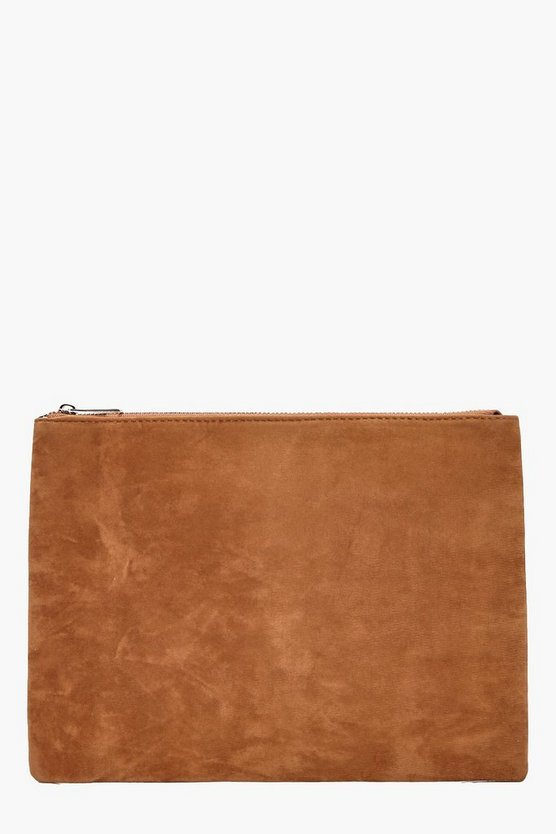 Julia Suedette Zip Top Clutch