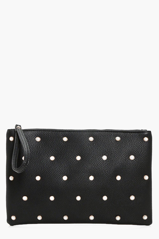 Pearl Stud Zip Top Clutch - black - Lily Pearl Stu