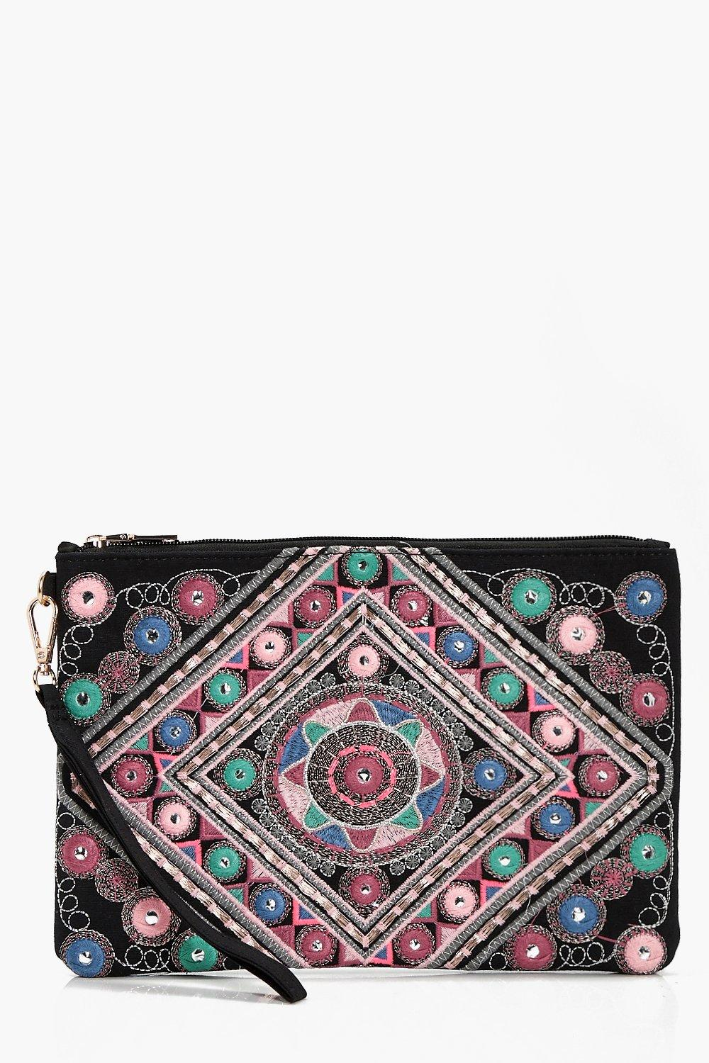 Mirrored Embroidery Oversize Clutch - black - Kate