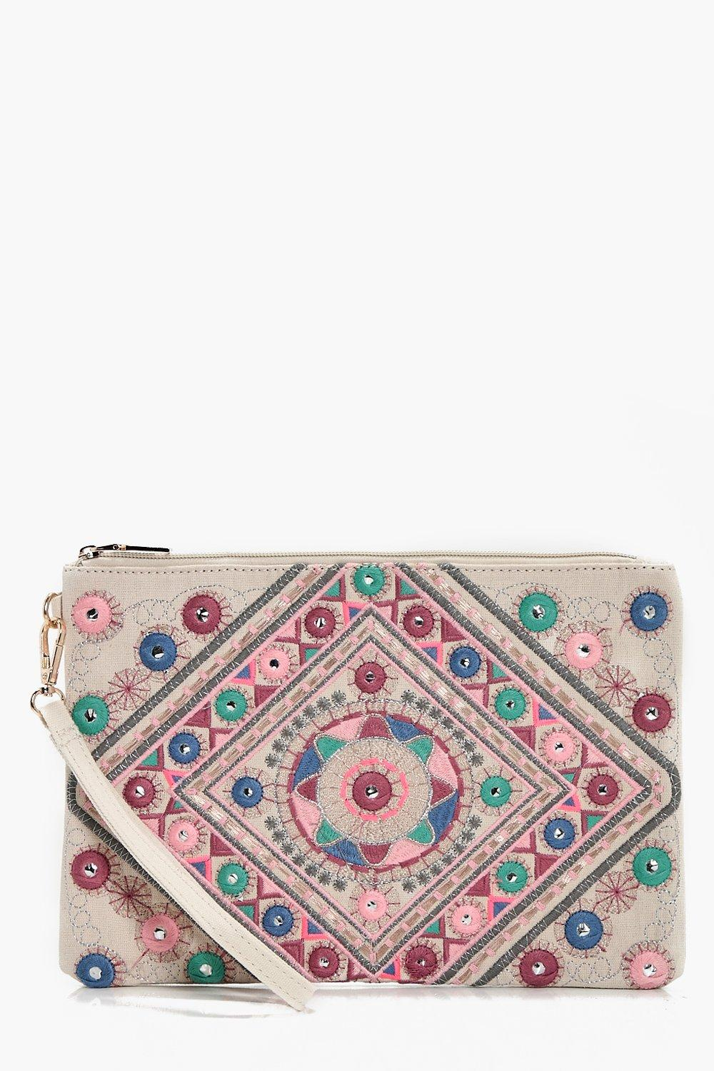 Mirrored Embroidery Oversize Clutch - white - Kate