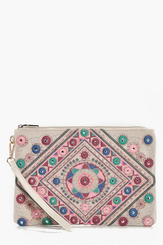 Kate Mirrored Embroidery Oversize Clutch