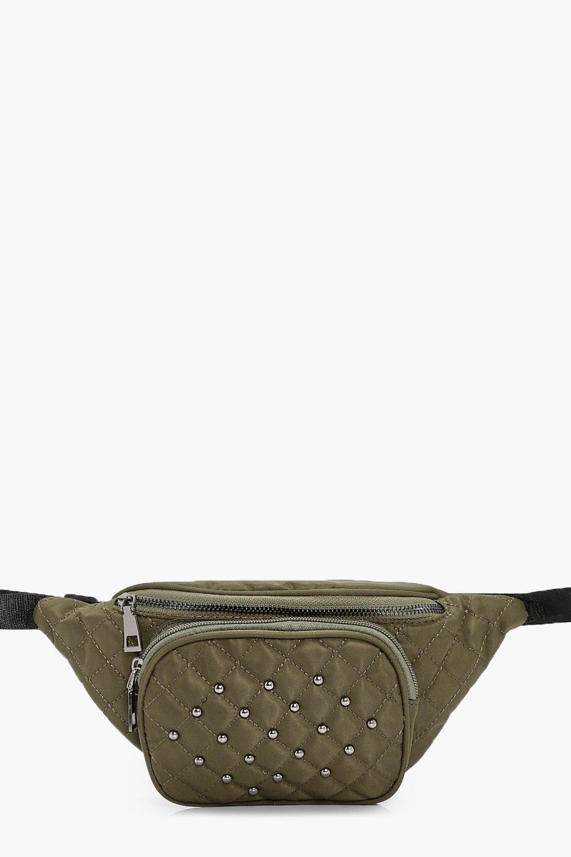Nylon Quilted Bumbag - khaki - Jessica Nylon Quilt