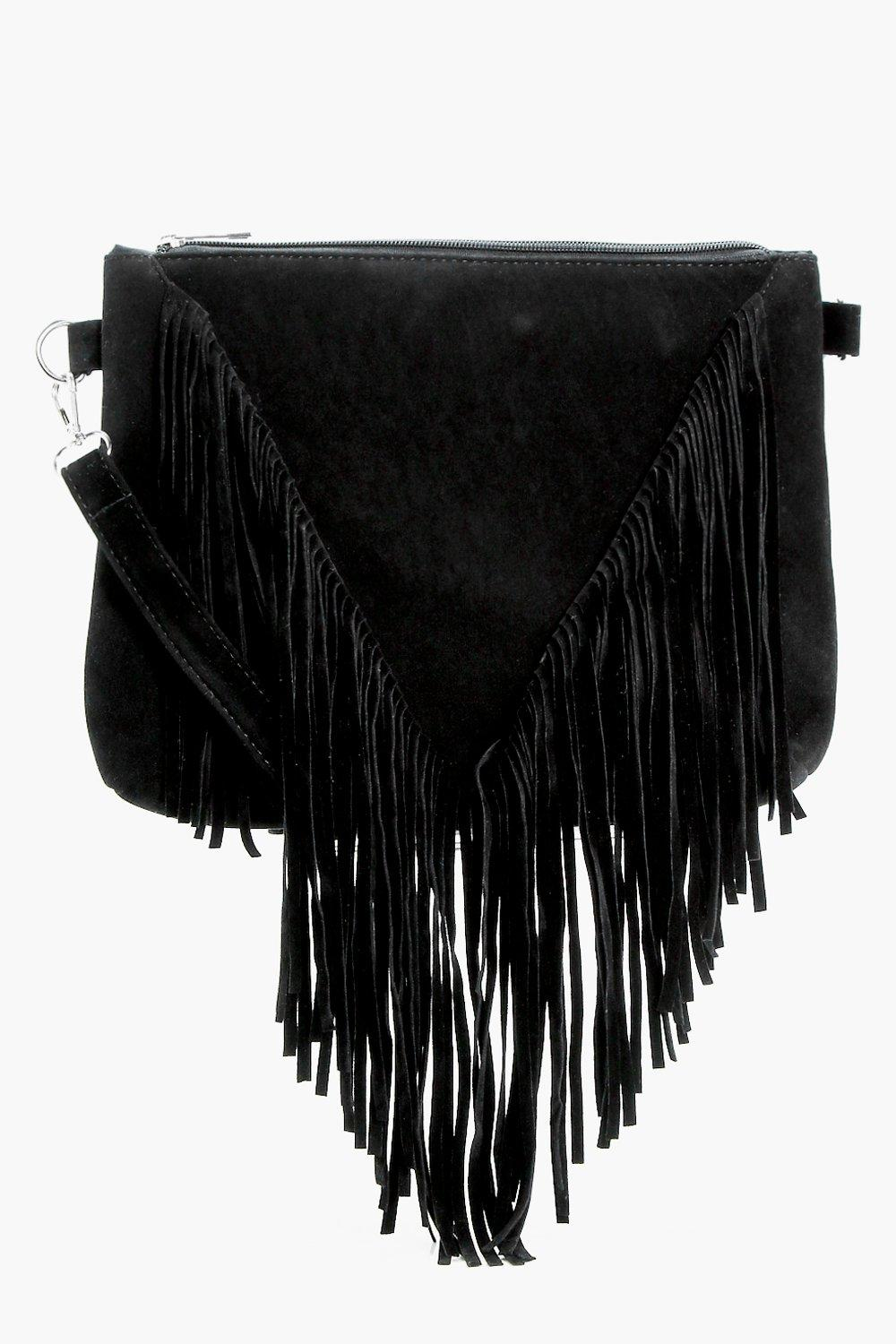 Suedette Fringed Cross Body - black - Kelly Suedet