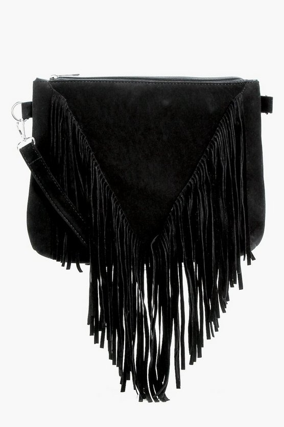 Kelly Suedette Fringed Cross Body