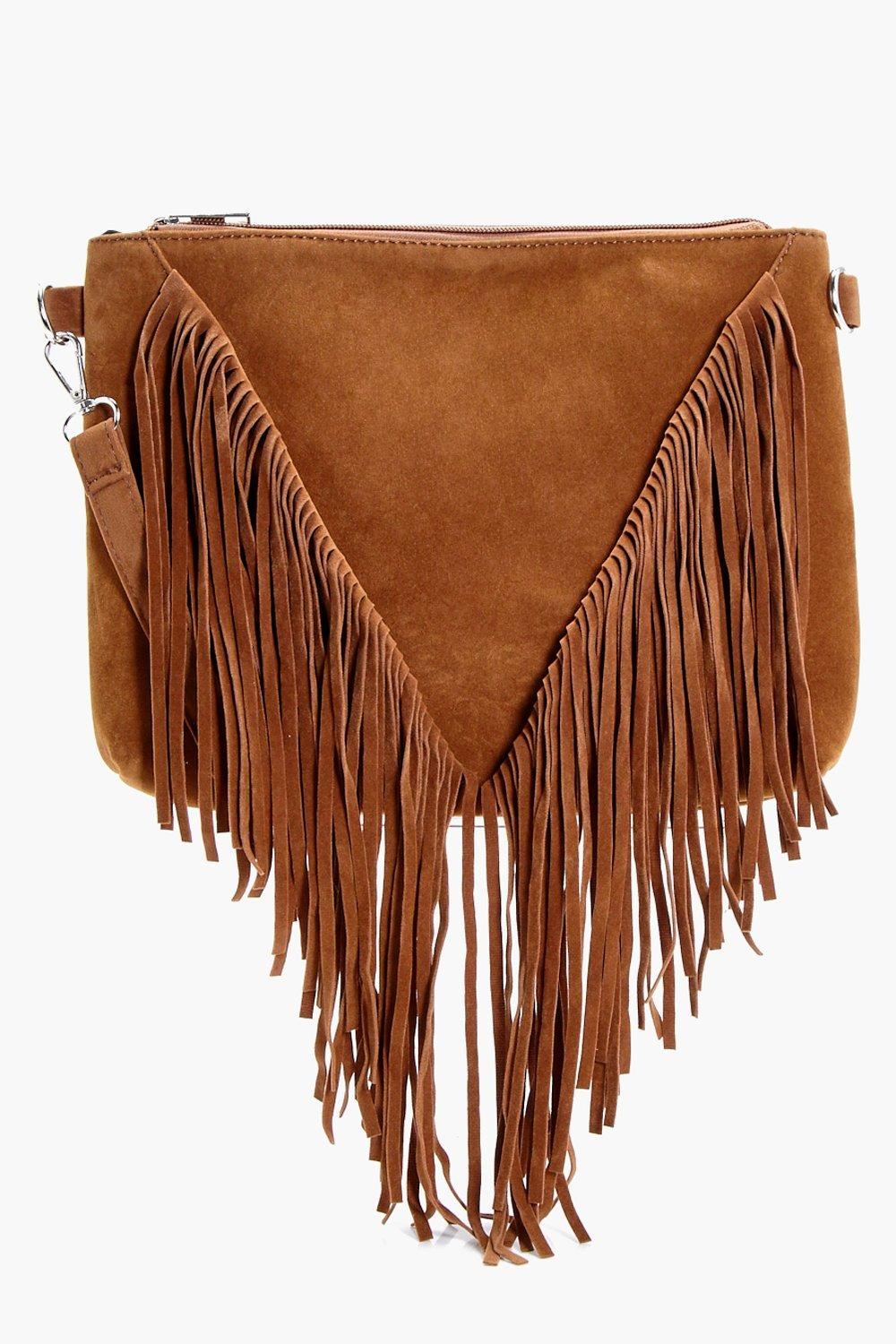 Suedette Fringed Cross Body - tan - Kelly Suedette