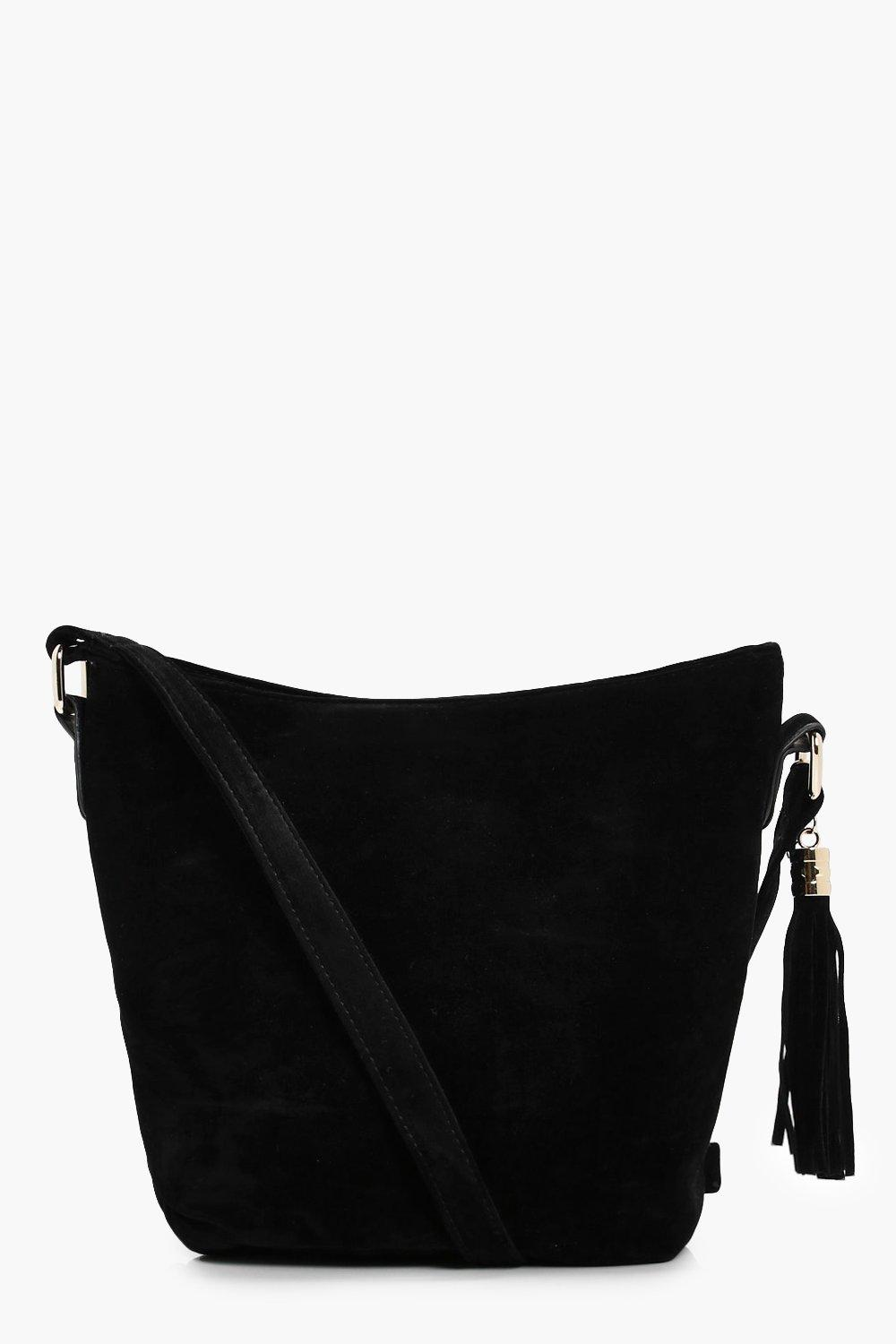 Suedette Bucket Cross Body Bag - black - Laura Sue