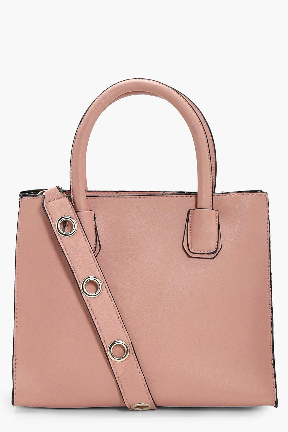 Structured Eyelet Strap Mini Cross Body - pink - L
