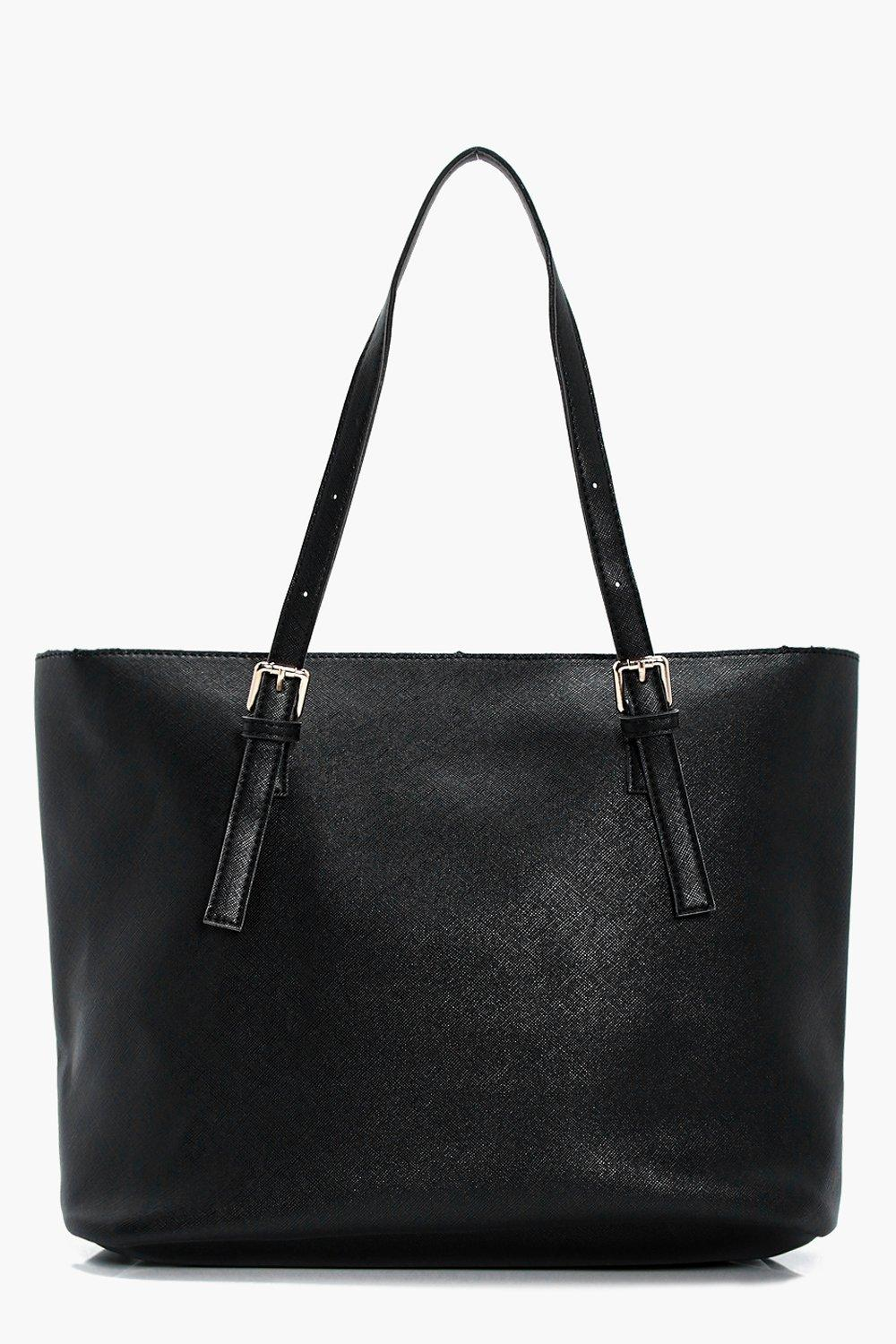 Crosshatch Buckle Tote - black - Sophie Crosshatch