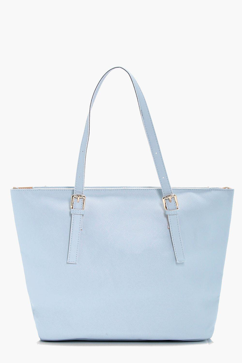Crosshatch Buckle Tote - blue - Sophie Crosshatch