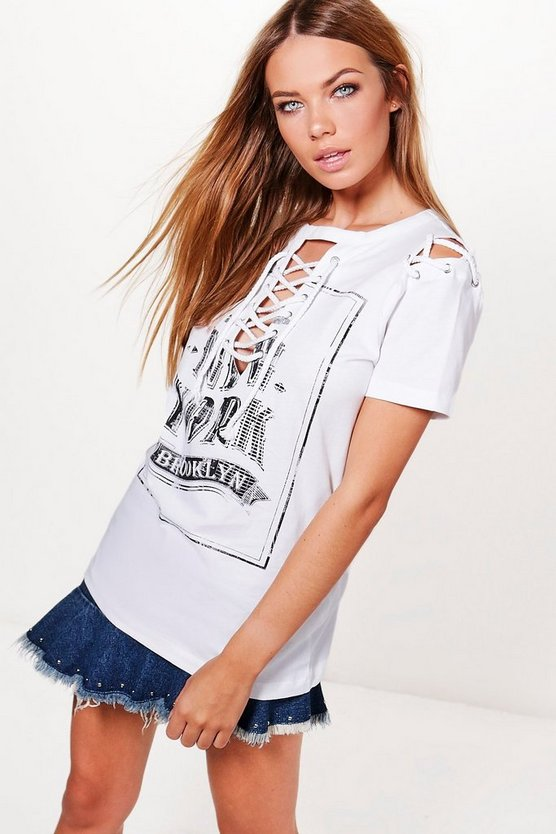 Emily Printed Lace Up T-Shirt
