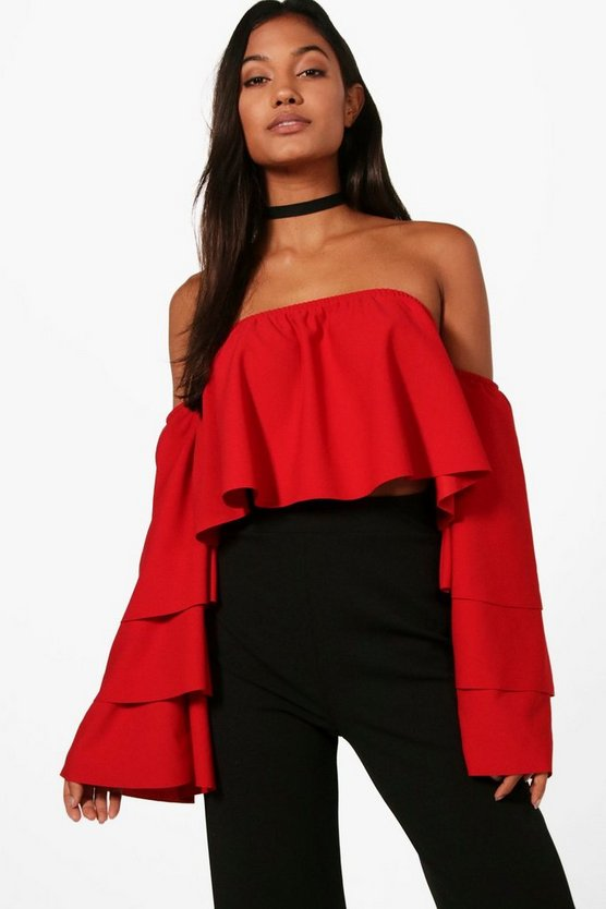 Holly Off The Shoulder Tiered Sleeve Top