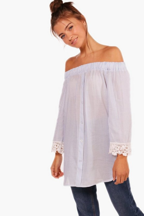 Orla Crochet Trim Stripe Top