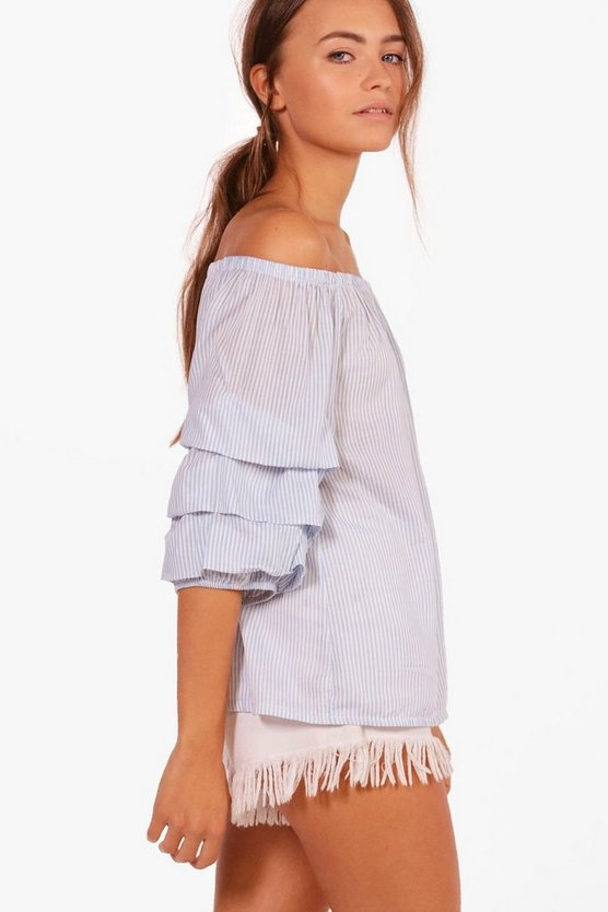 Bella Ruffle Sleeve Off The Shoulder Top