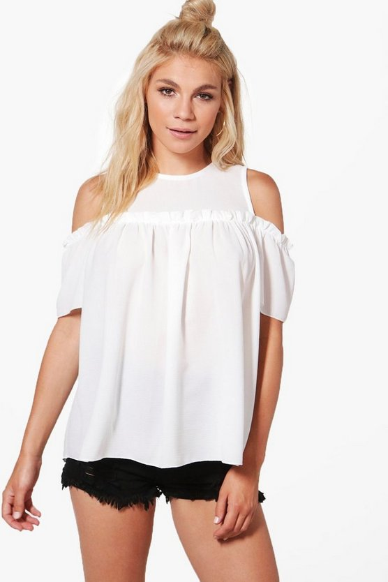 Faye Frill Cold Shoulder Woven Top