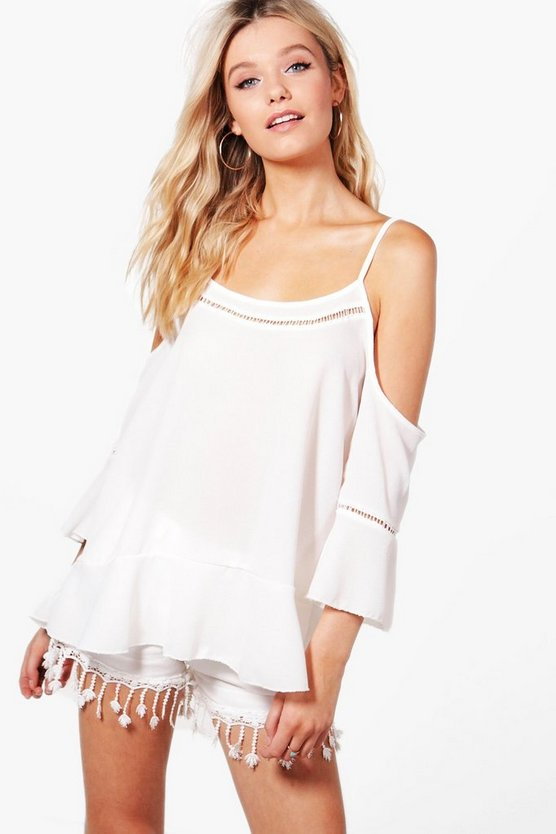 Amiee Cold Shoulder Trim Detail Top