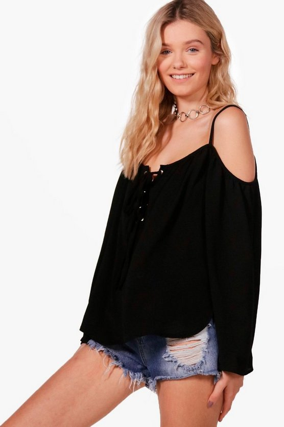 Freya Cold Shoulder Eyelet Lace Up Top